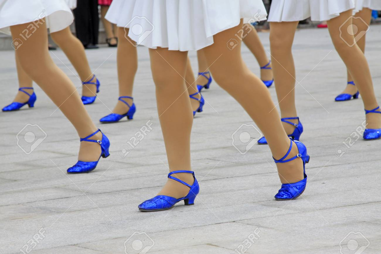 White Dress And Blue Shoes, Closeup Of