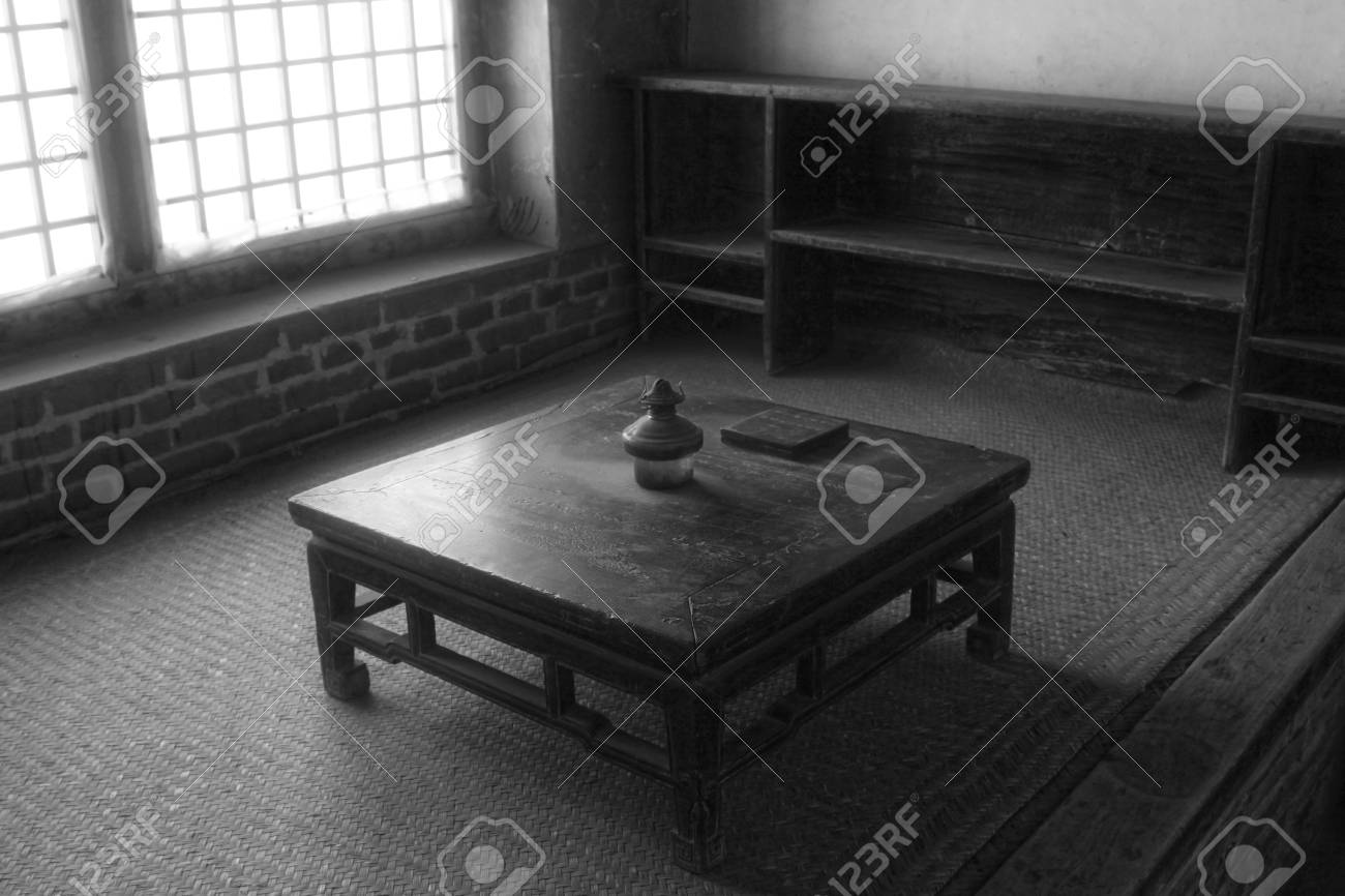 Stock Photo   Traditional Chinese Style Furniture   Kang Table, In Chinese  Rural Areas