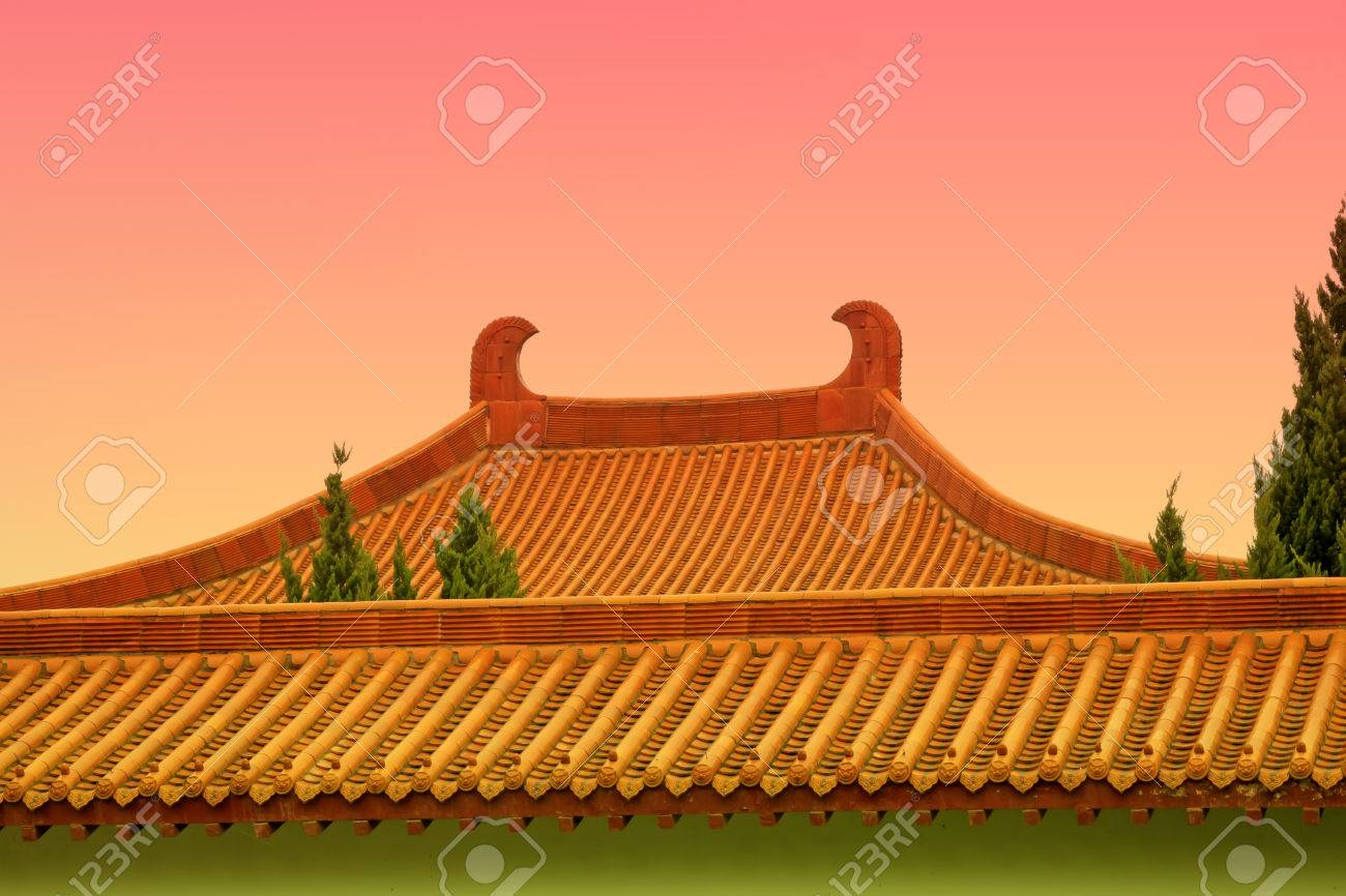 traditional chinese architectural style yellow glazed tile roof