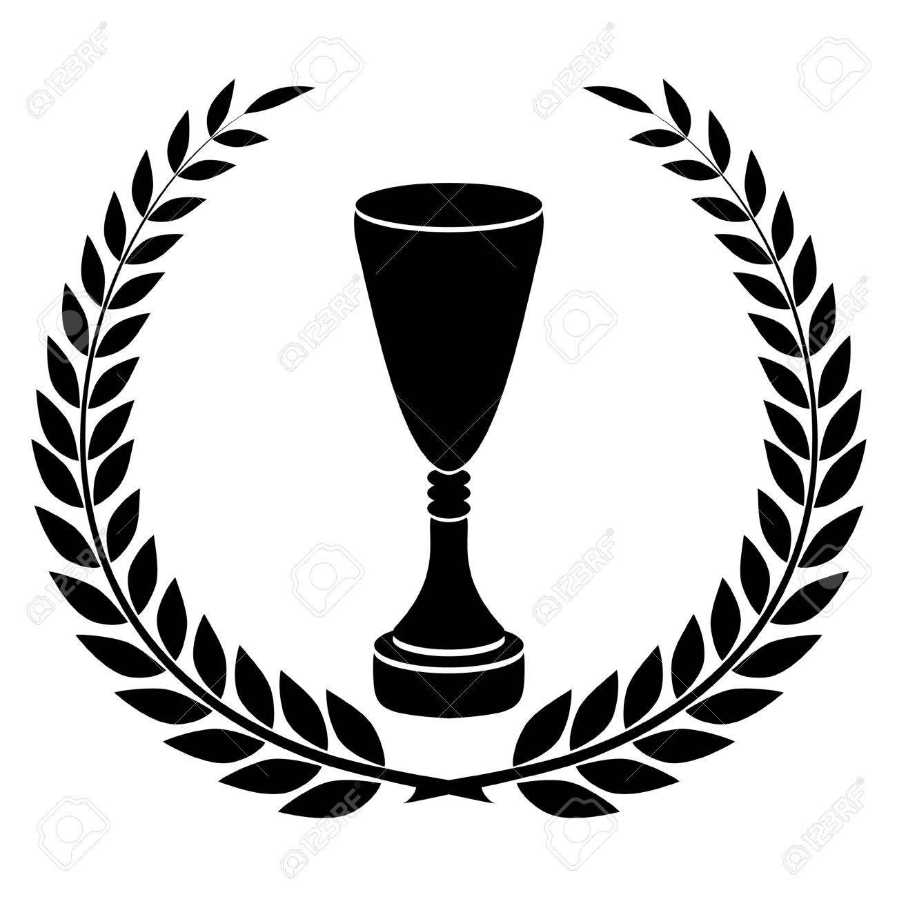 Black Silhouette Of Champions Cup Award Design Stock Vector