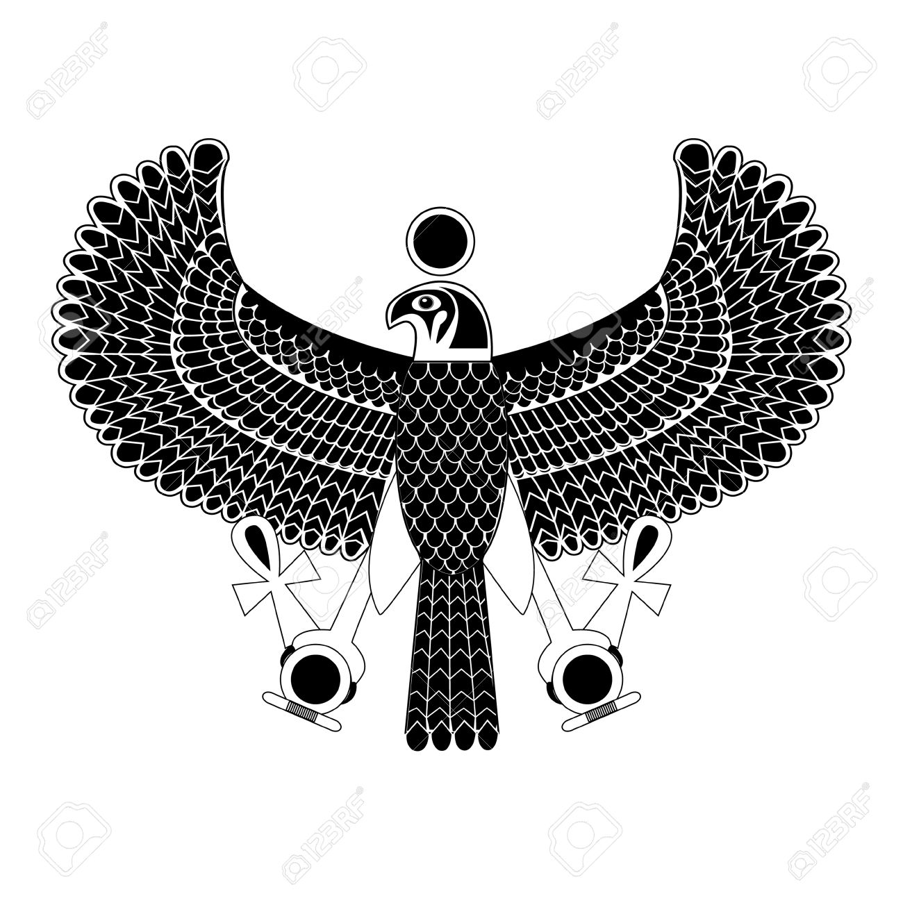 Black and white ancient egyptian symbol of horus the falcon god black and white ancient egyptian symbol of horus the falcon god stock vector 36746072 buycottarizona Image collections