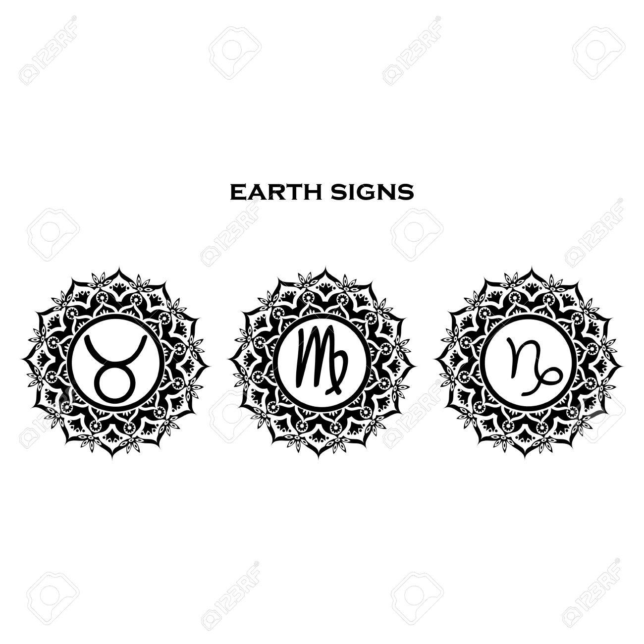 Zodiac symbols earth element mandala taurus virgo capricorn zodiac symbols earth element mandala taurus virgo capricorn stock vector 52842538 buycottarizona