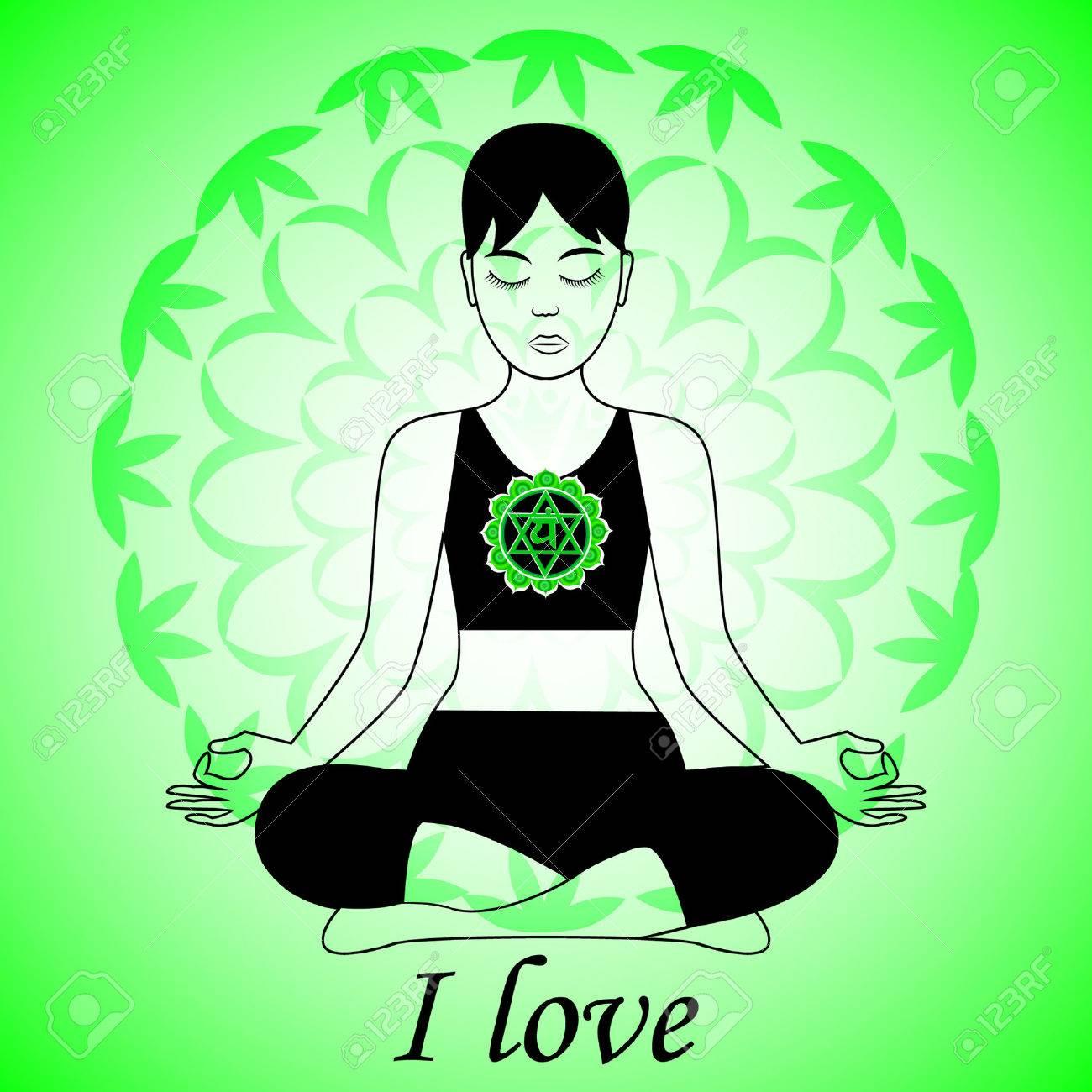 Meditating women. Anahata chakra activation. I love. - 55910525