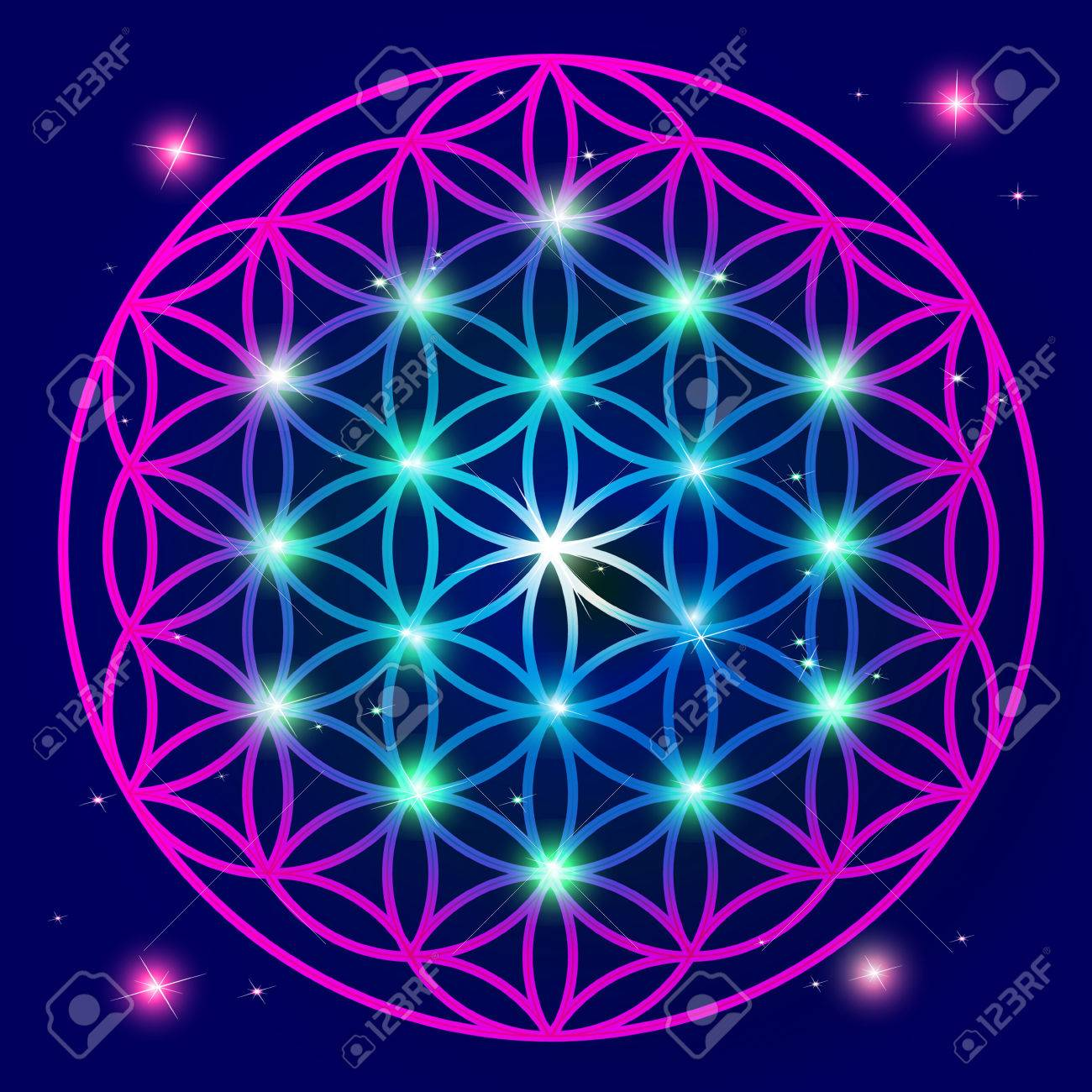 Flower Of Life Mandala ornament Banque d'images - 56300815