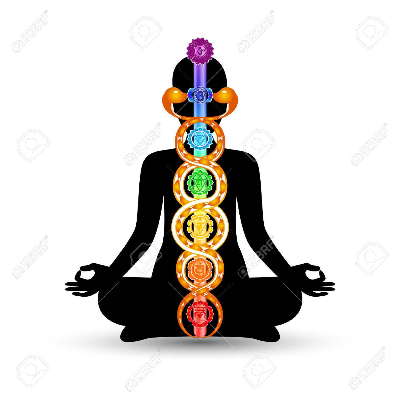 Woman black silhouette in yoga position with the colorful symbols of seven chakras and kundalini energy - 56300851