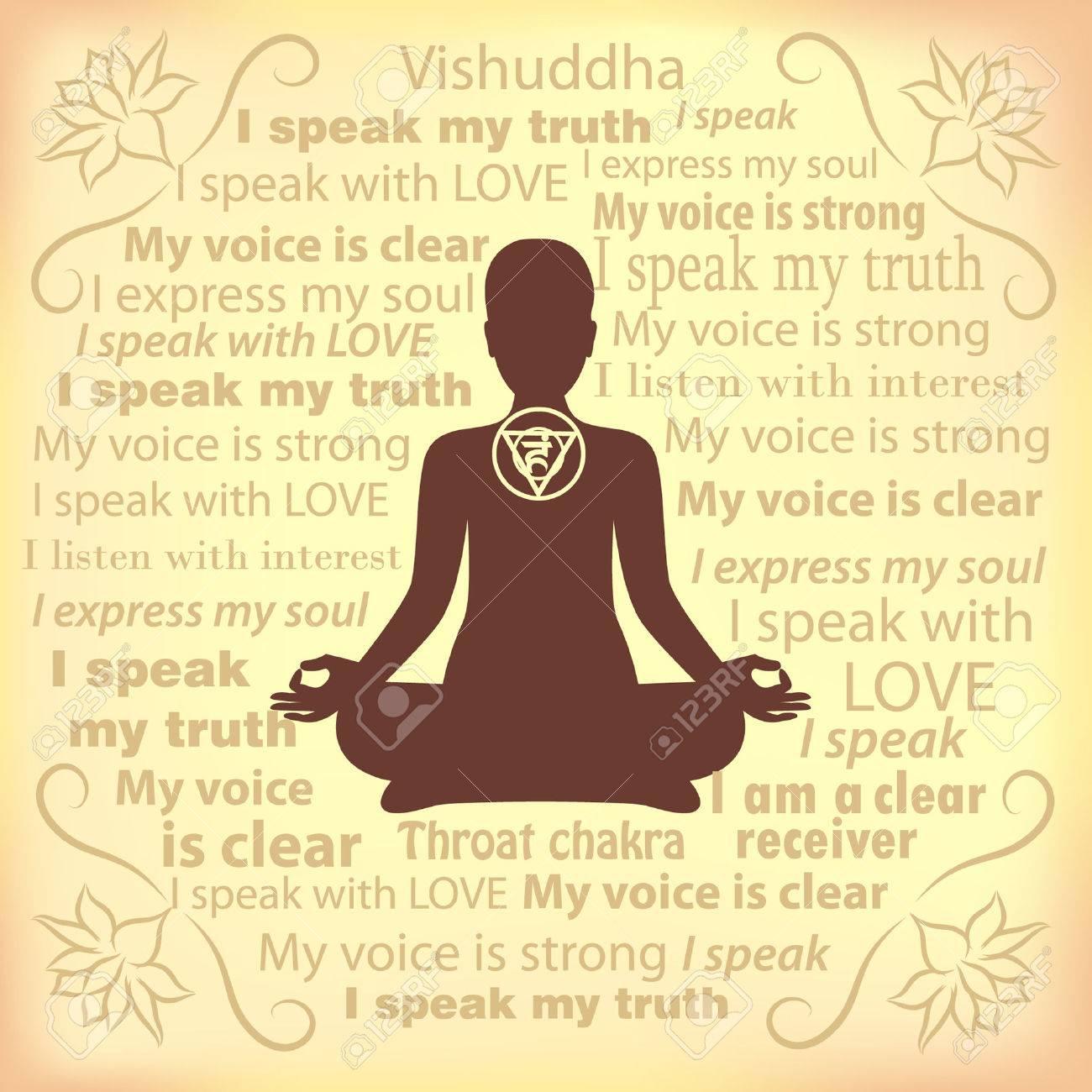Meditating woman. Vishuddha chakra affirmation. - 59670994