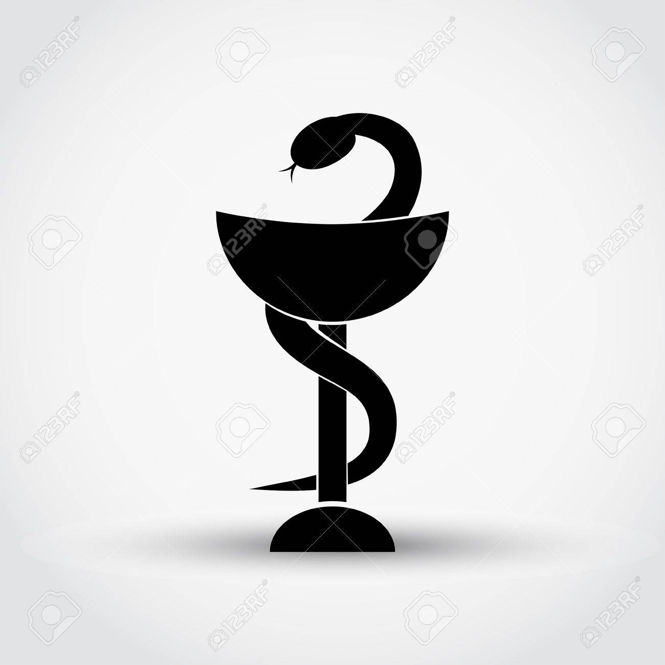 pharmacy symbol medical snake and cup vector icon royalty free