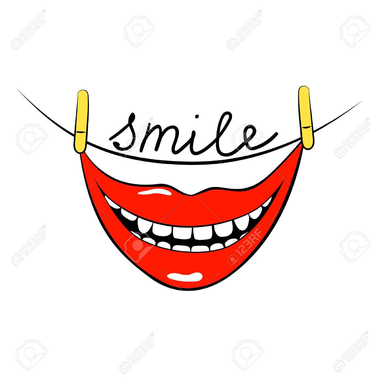 Sonreír. La Cita Inspirada Sobre Feliz. Boca Sonriente. Diseño Del ...