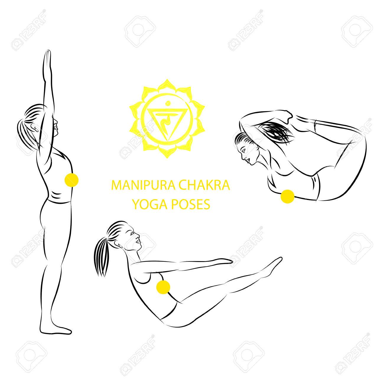 Yoga poses for Manipura chakra activation vector illustration.