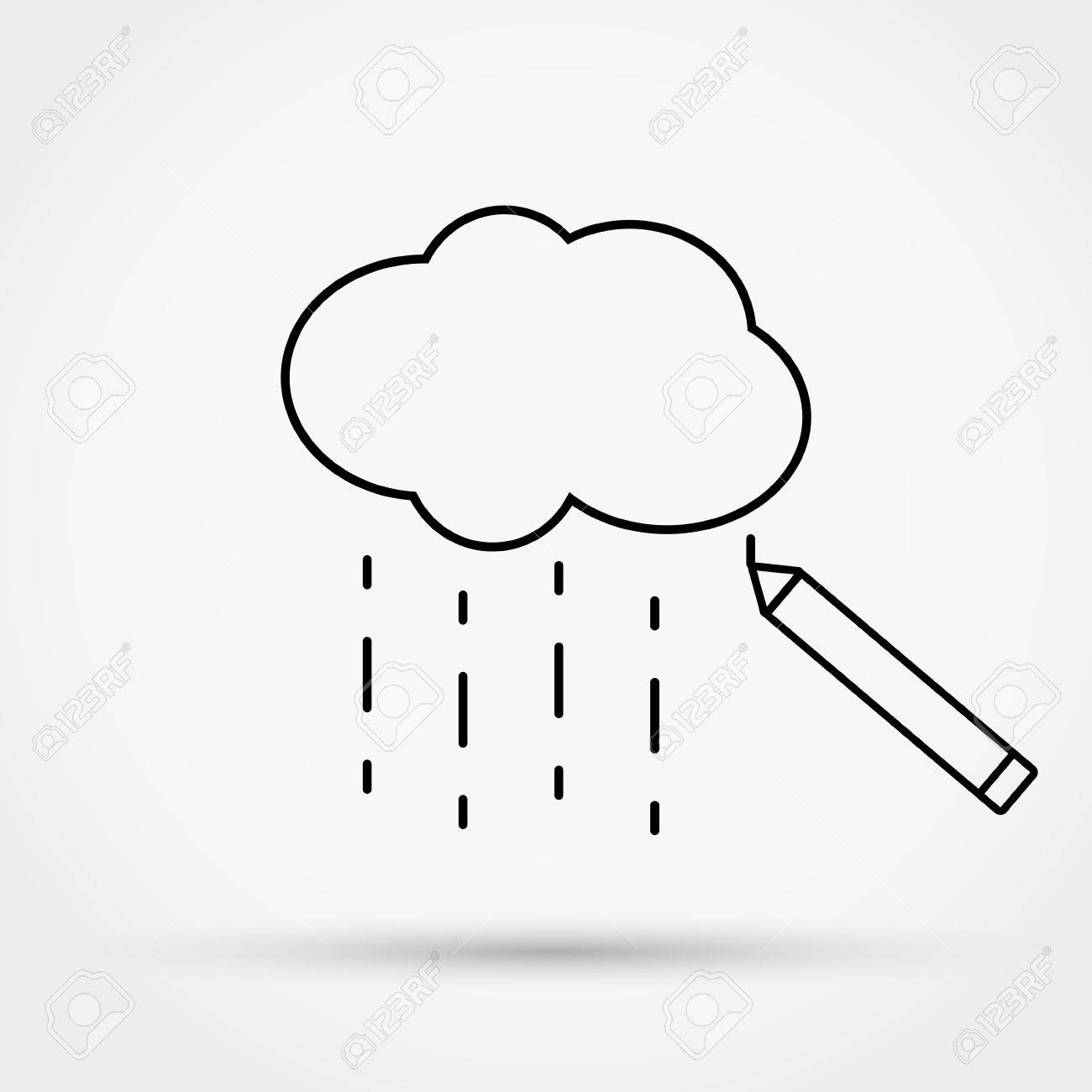 Pencil drawing cloud with rain outline simple flat icon vector illustration stock vector