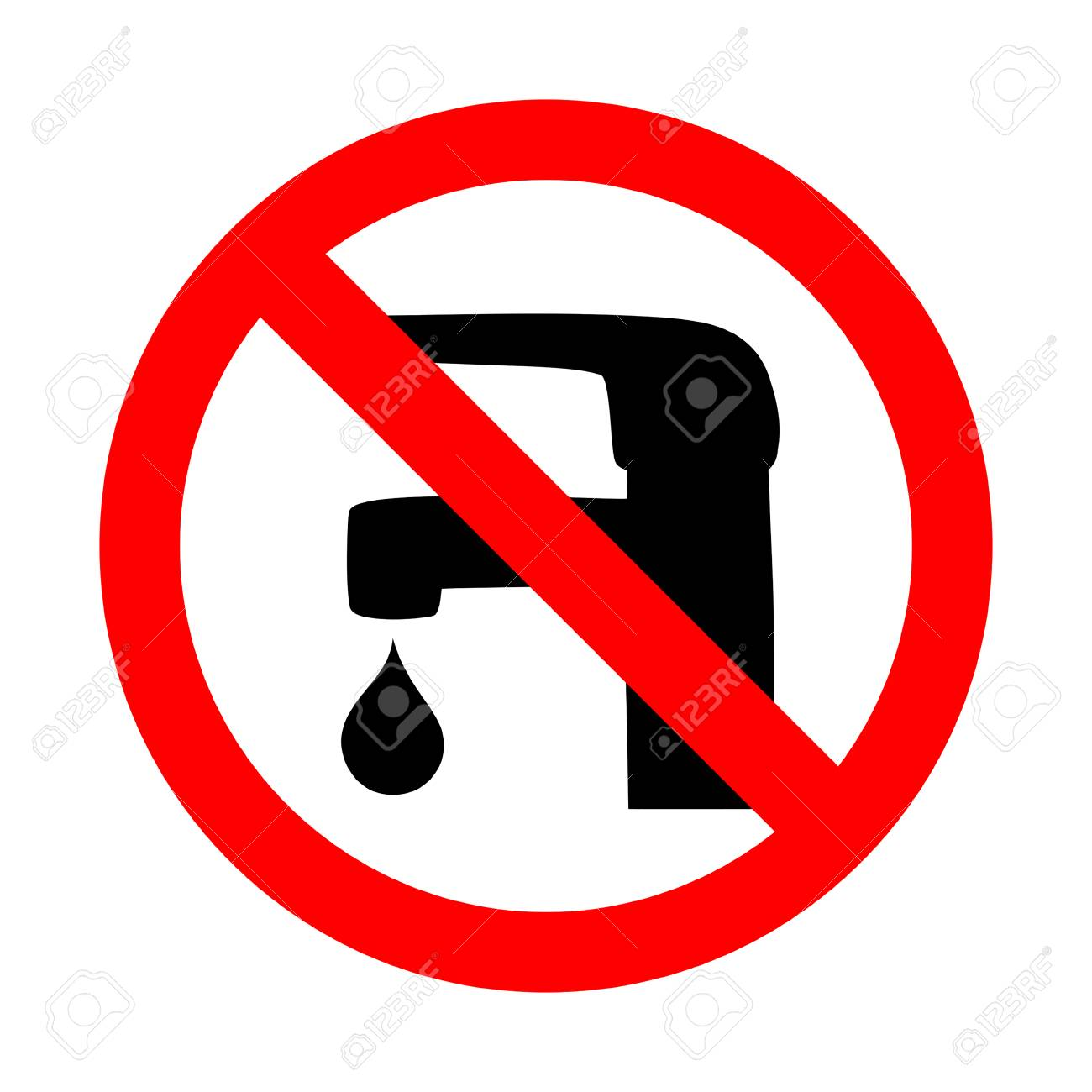 Save water sign faucet icon. Simple flat vector illustration. - 104668538
