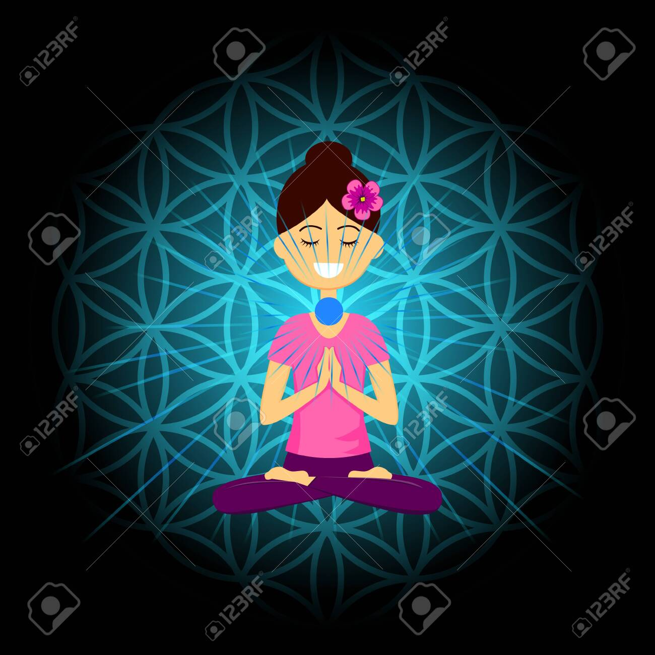 Cartoon character smiling woman is sitting in lotus position with namaste hands. Vishuddha chakra activation. Vector illustration. - 153295205