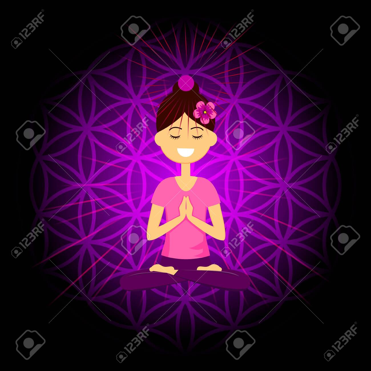 Cartoon character smiling woman is sitting in lotus position with namaste hands. Sahasrara chakra activation. Vector illustration. - 153295213