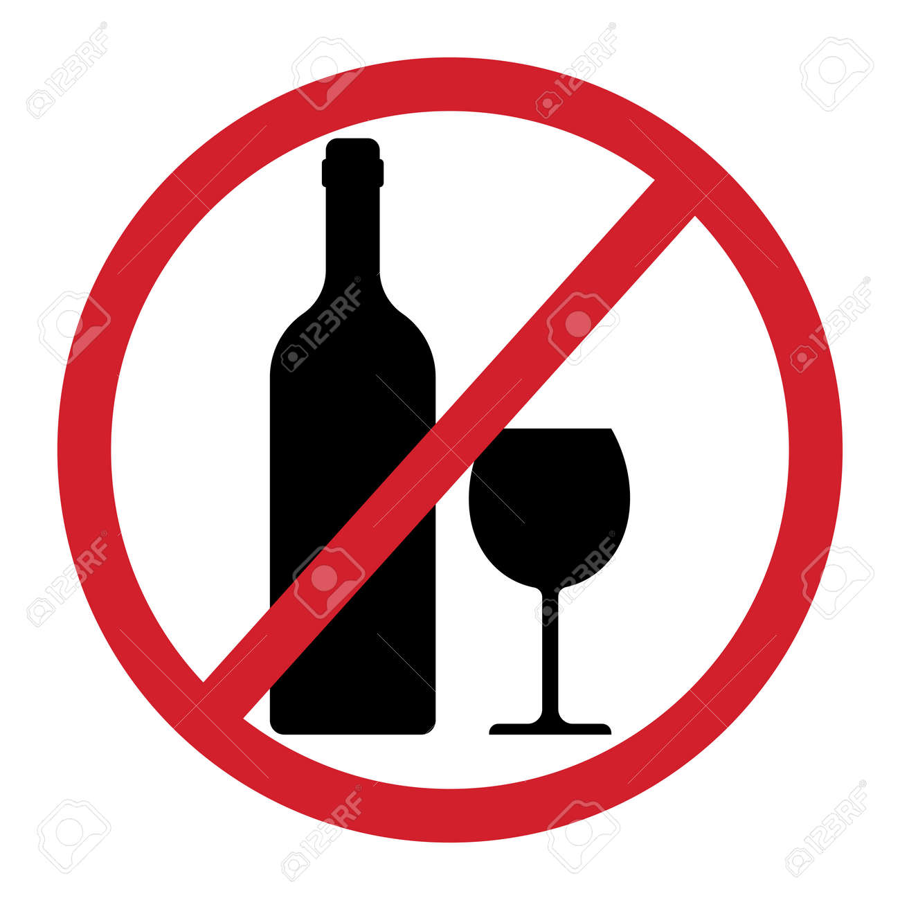 No alcohol sign isolated on white background. Vector illustration - 166028542