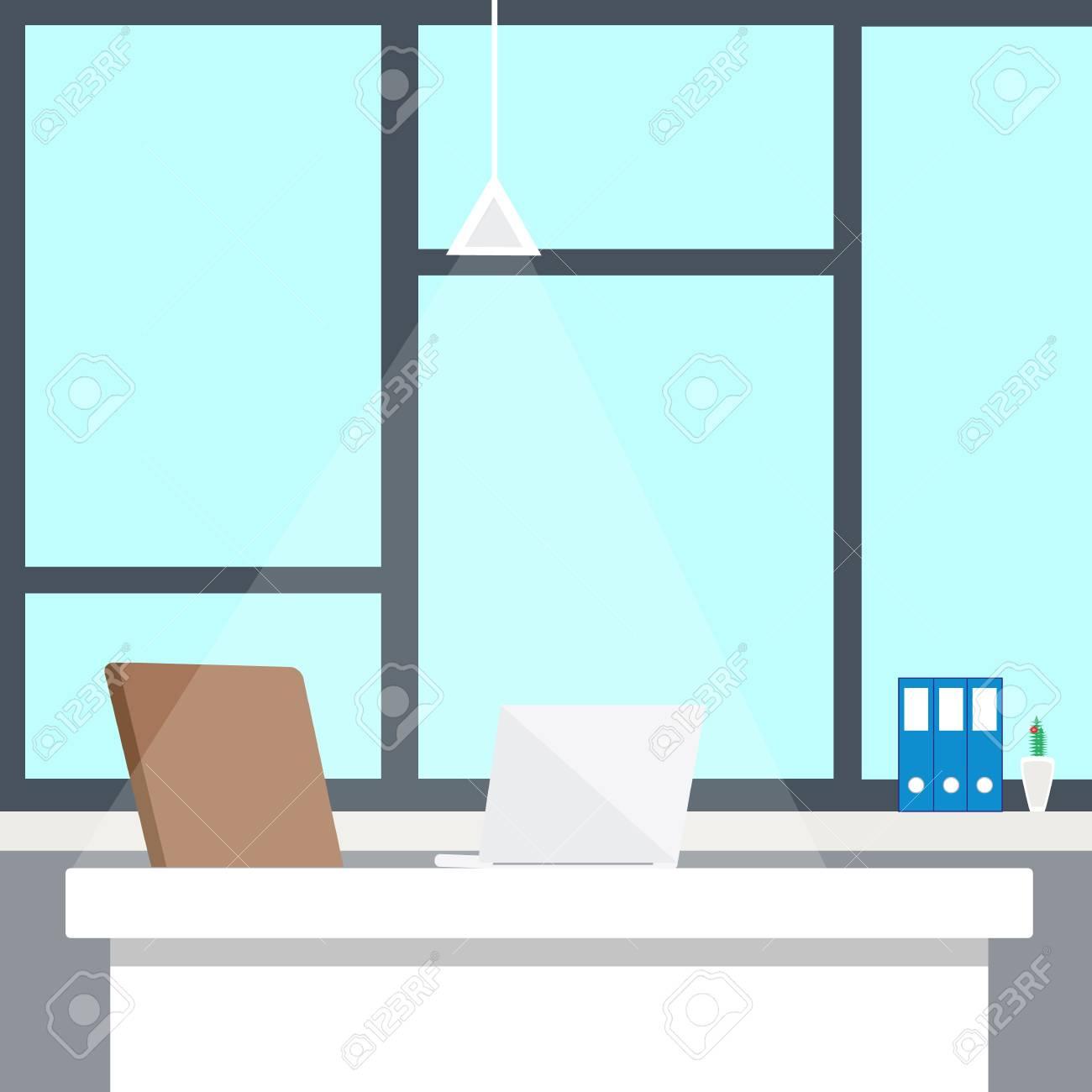 intérieur de bureau moderne avec bureau design en design plat