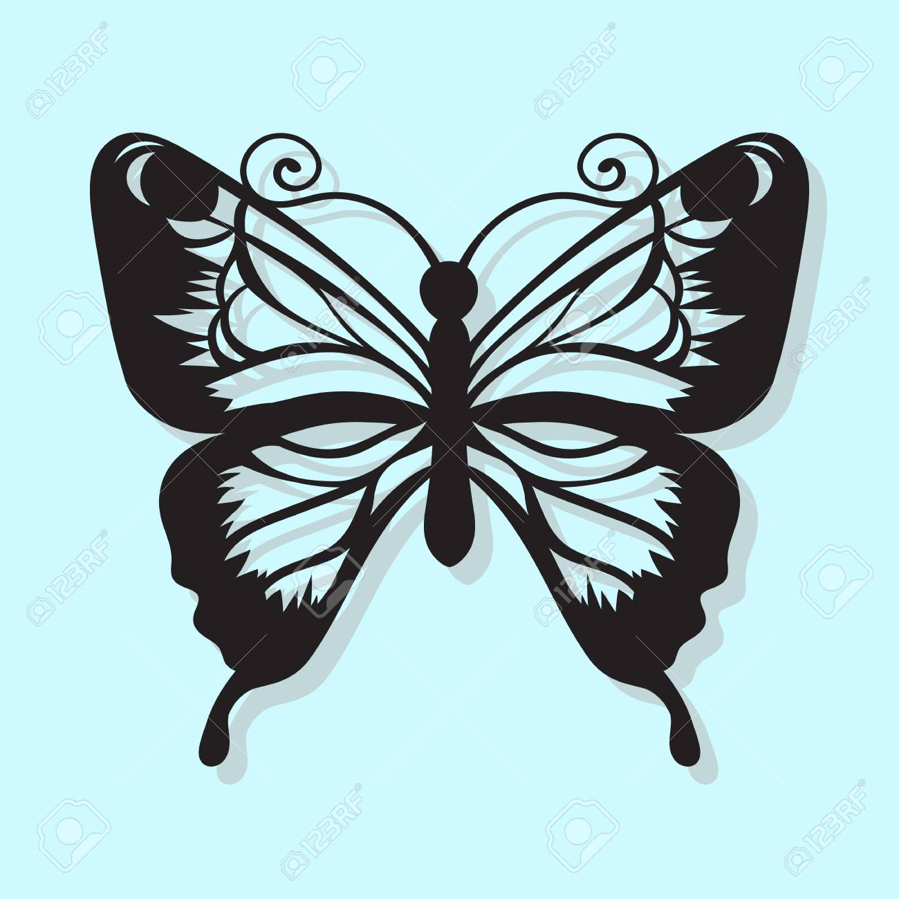Cool Vector, black butterfly on a blue background. Laser cutting - 76148394