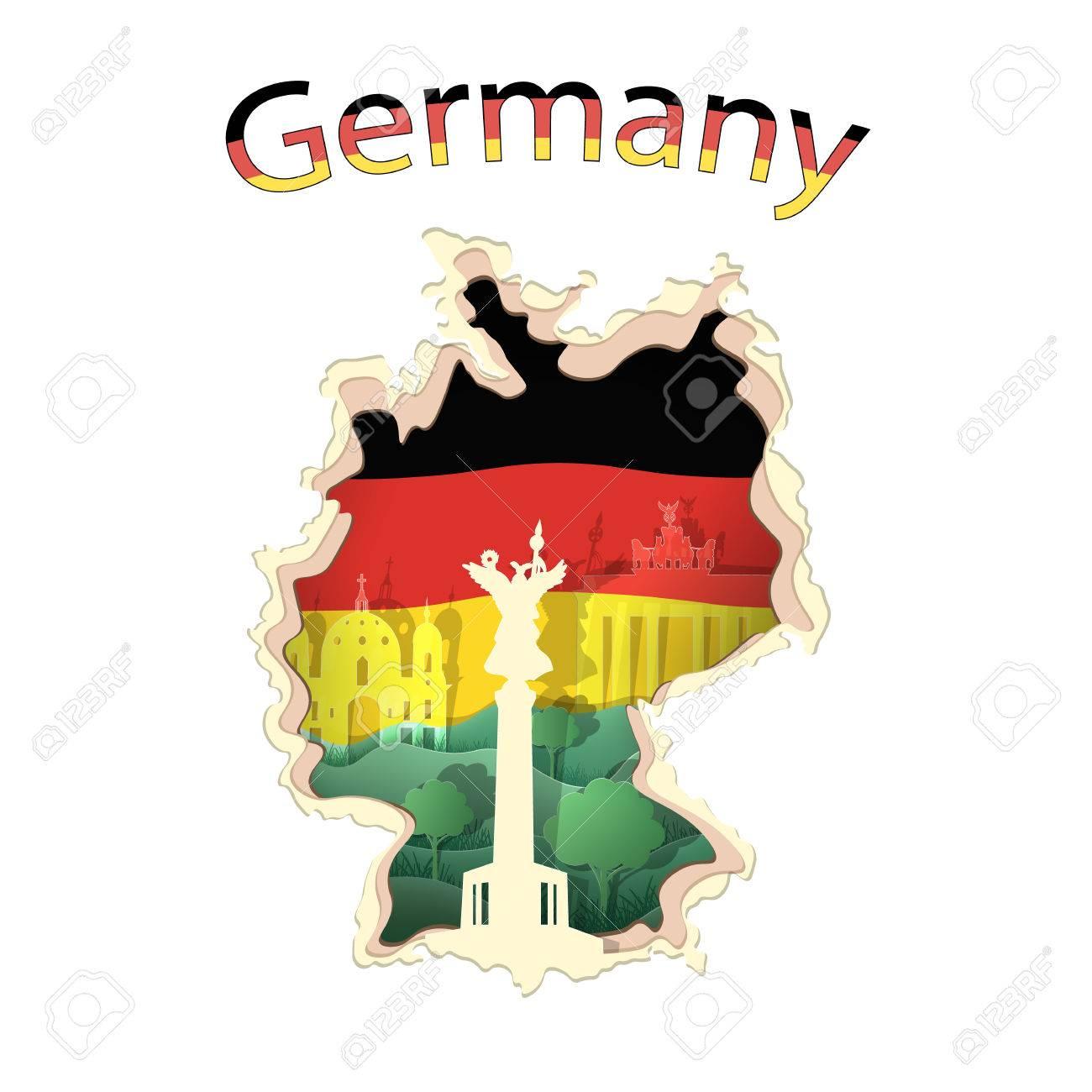 Deutschland Fahne Papier Berliner Dom Brandenburger Tor Siegessaule Illustration Lizenzfrei Nutzbare Vektorgrafiken Clip Arts Illustrationen Image 78843133