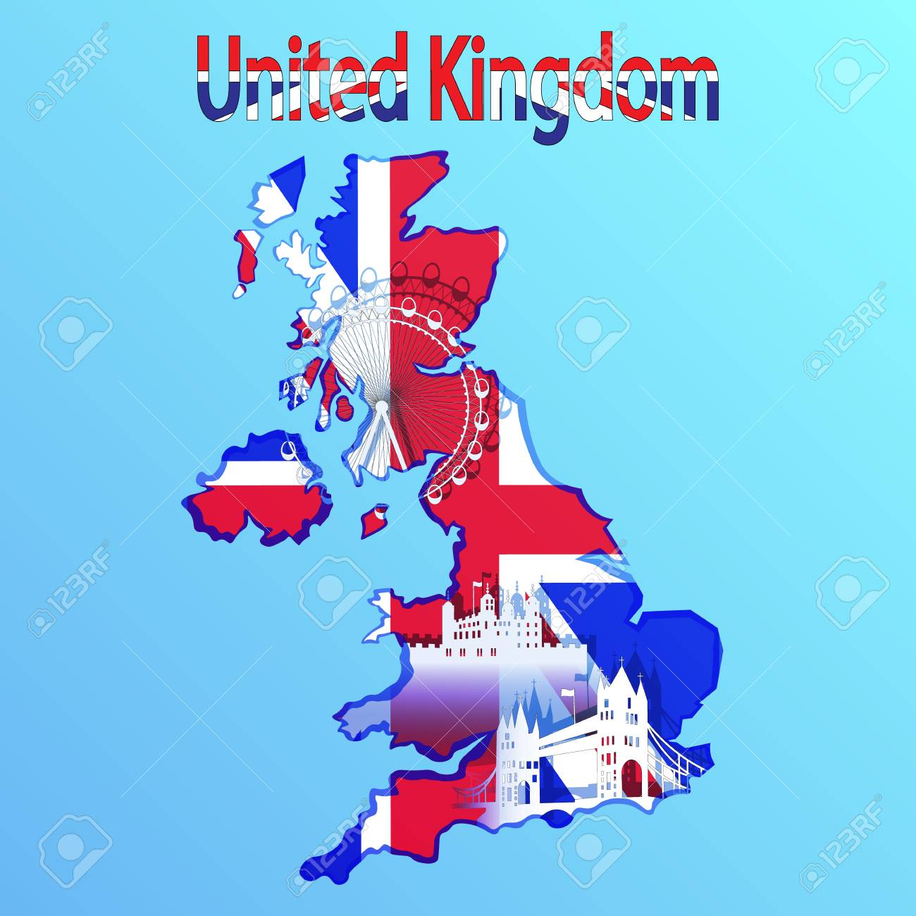 United Kingdom map and flag in blue background. Tower Bridge,..
