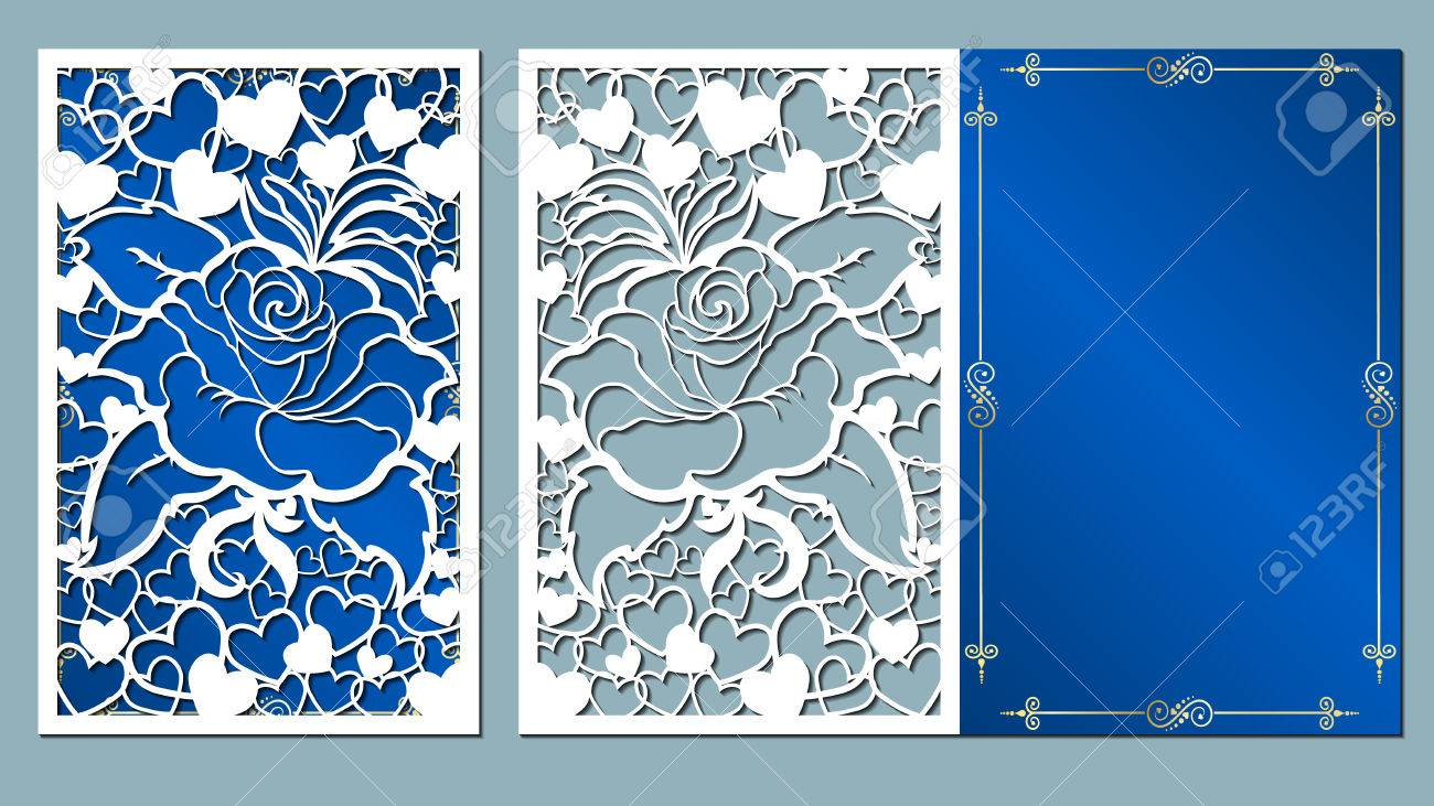 laser, cut, card, roses, cutting, template, wedding, vector, paper, flower, white, - 84420577