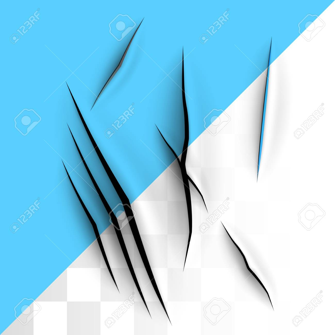 Big Blue Triangle Shape Placed In Corner Transparent Template With Slash Paper Cut Design