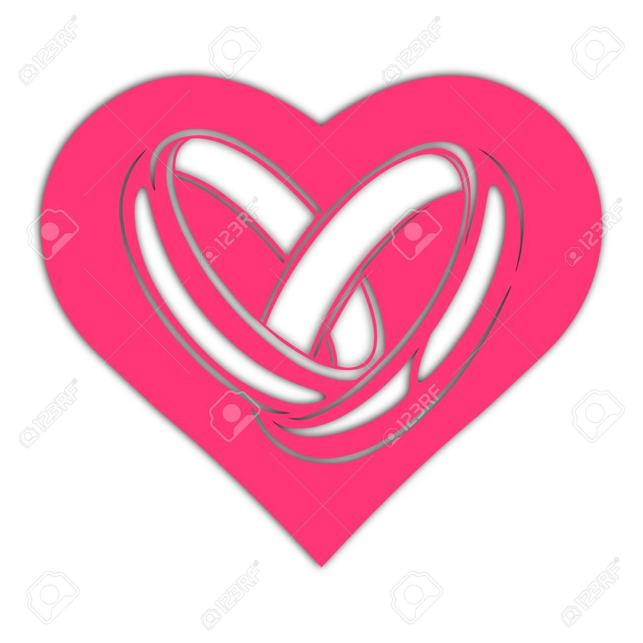 Ring, Card. Heart Wedding Rings, Vector Illustration. Laser Cut ...