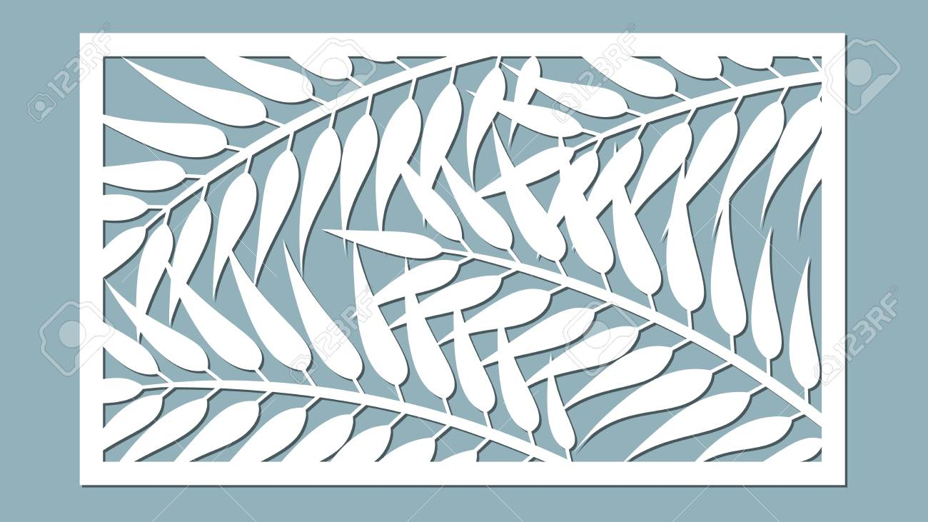 Template For Cutting Palm Leaves Pattern Laser Cut Vector