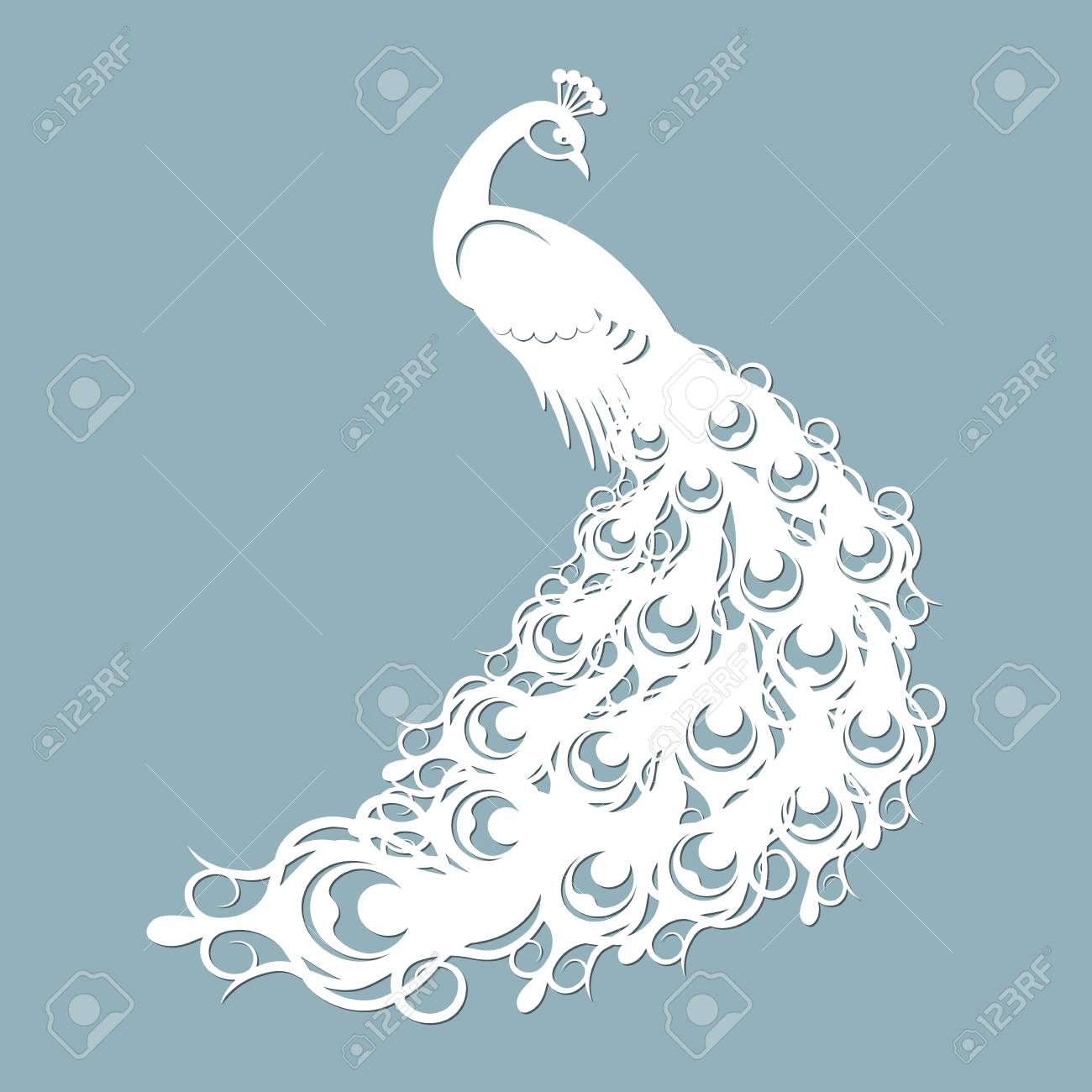 Peacock of paper. The template for the laser cutter and plotter. - 102392879