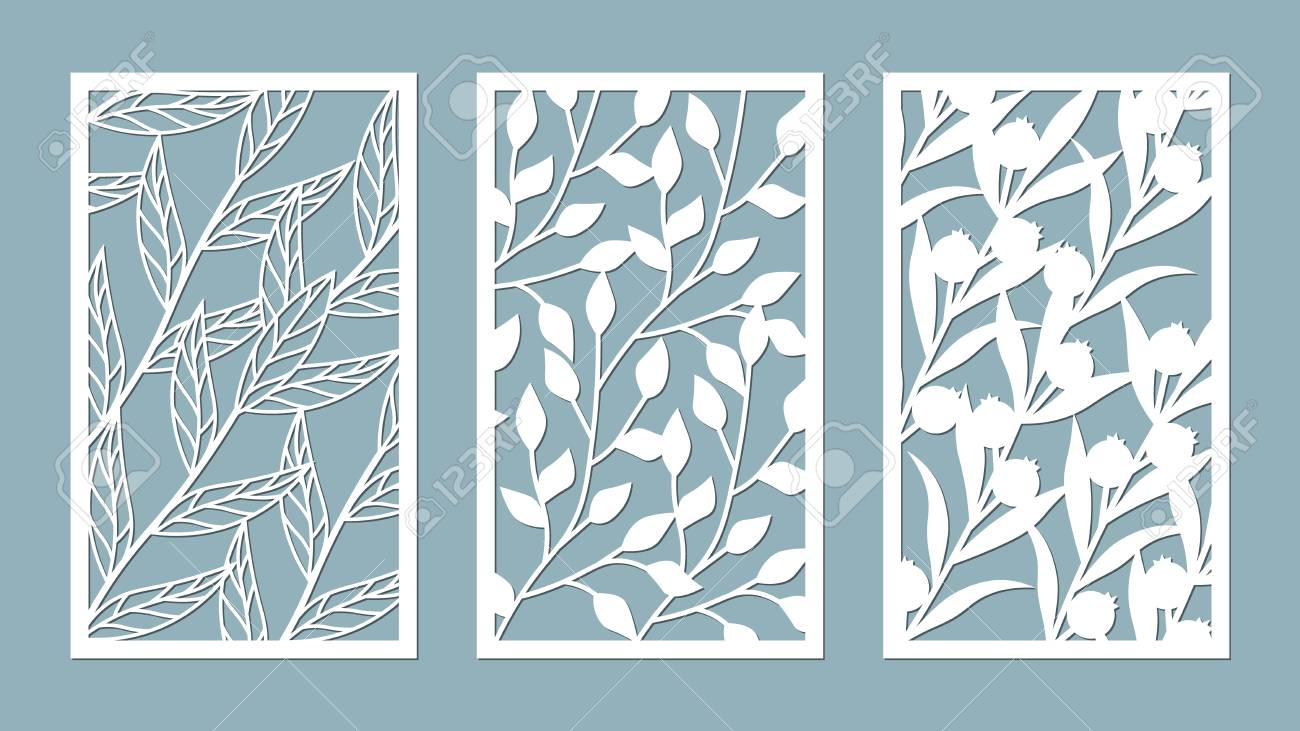 Set template for cutting. leaves pattern. Laser cut. For plotter. Vector illustration. - 112198891