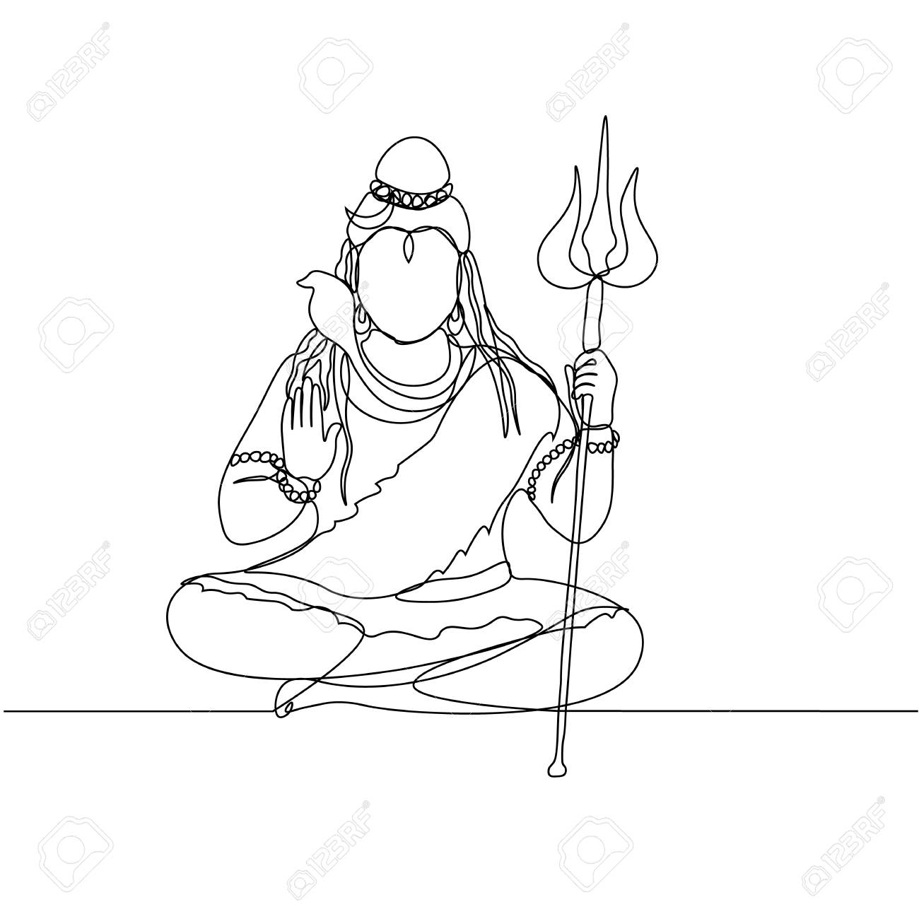 continuous line drawing  Shiva  Silhouette  God