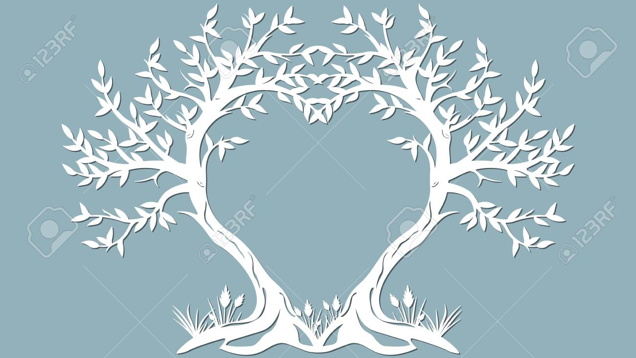 Vector illustration Postcard. Invitation and greeting card with the trees in the form of a heart. Pattern for the laser cut, serigraphy, plotter and screen printing - 115204922