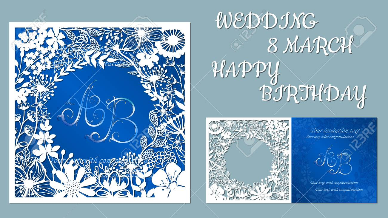 Vector greeting card for holidays. With the image of wildflowers and dragonflies. Inscriptions-wedding, March 8, happy birthday. Template for laser cutting, plotter cutting, silk screen printing - 122211986