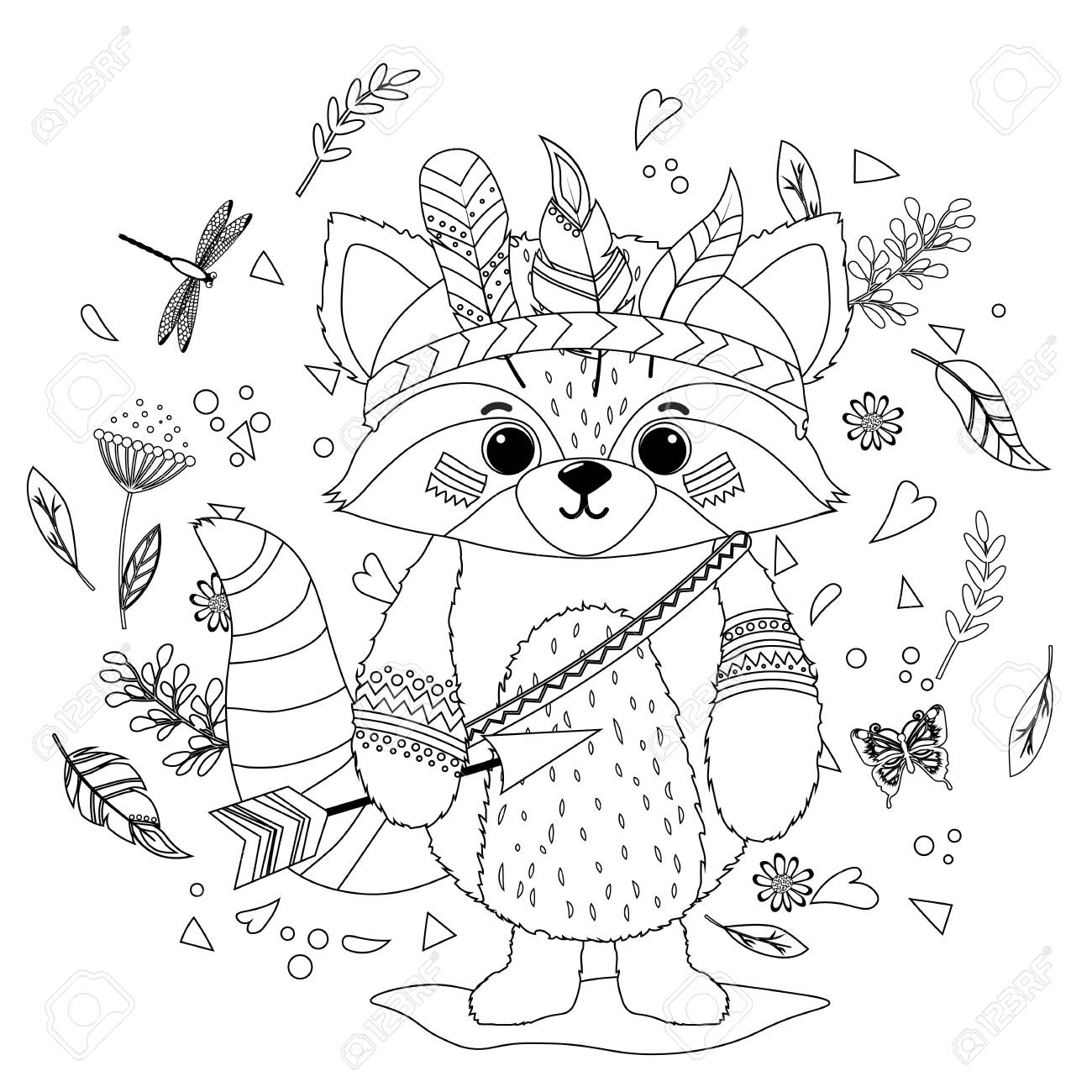 A Raccoon In A Feathered Indian War Hat Coloring Book For Children Royalty Free Cliparts Vectors And Stock Illustration Image 146187769