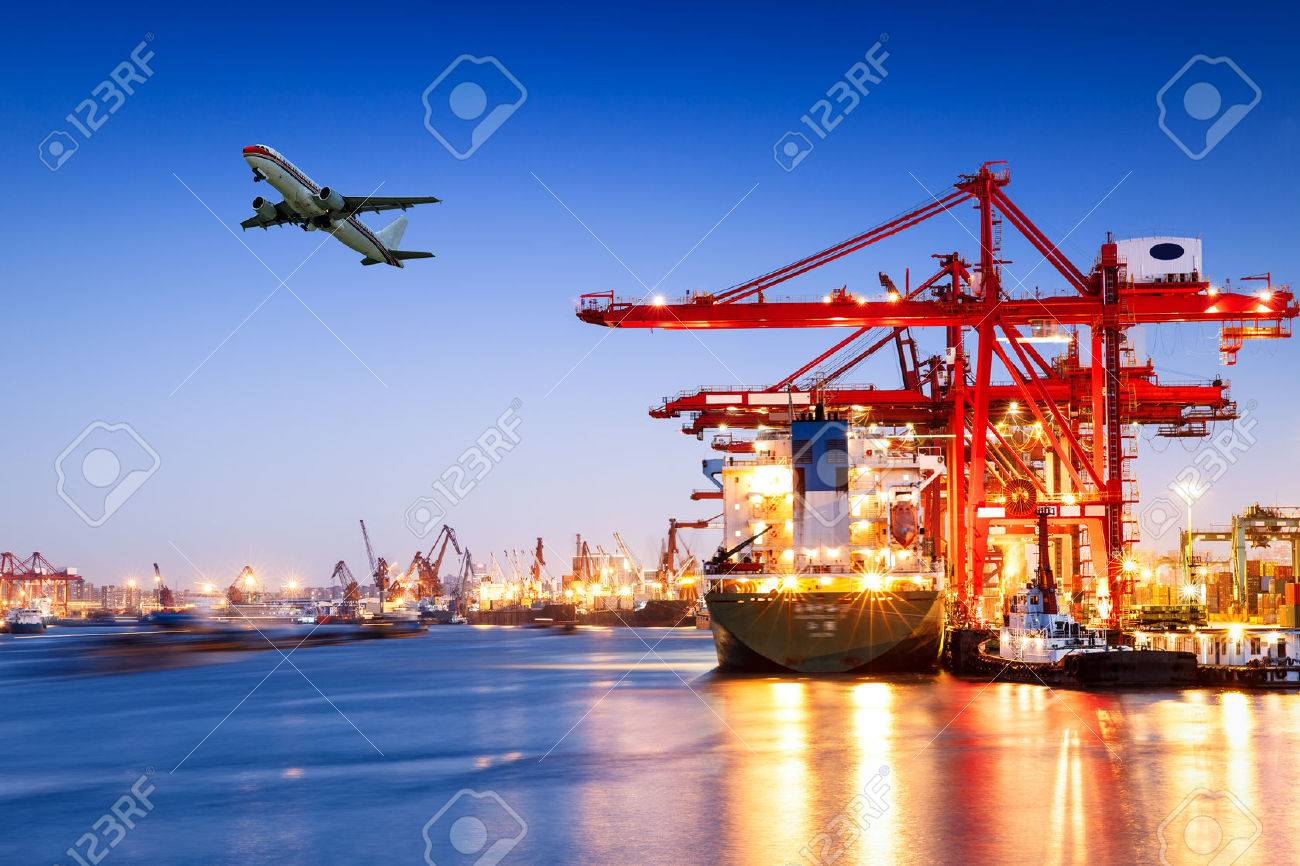 Industrial container freight Trade Port scene at sunset - 55691567