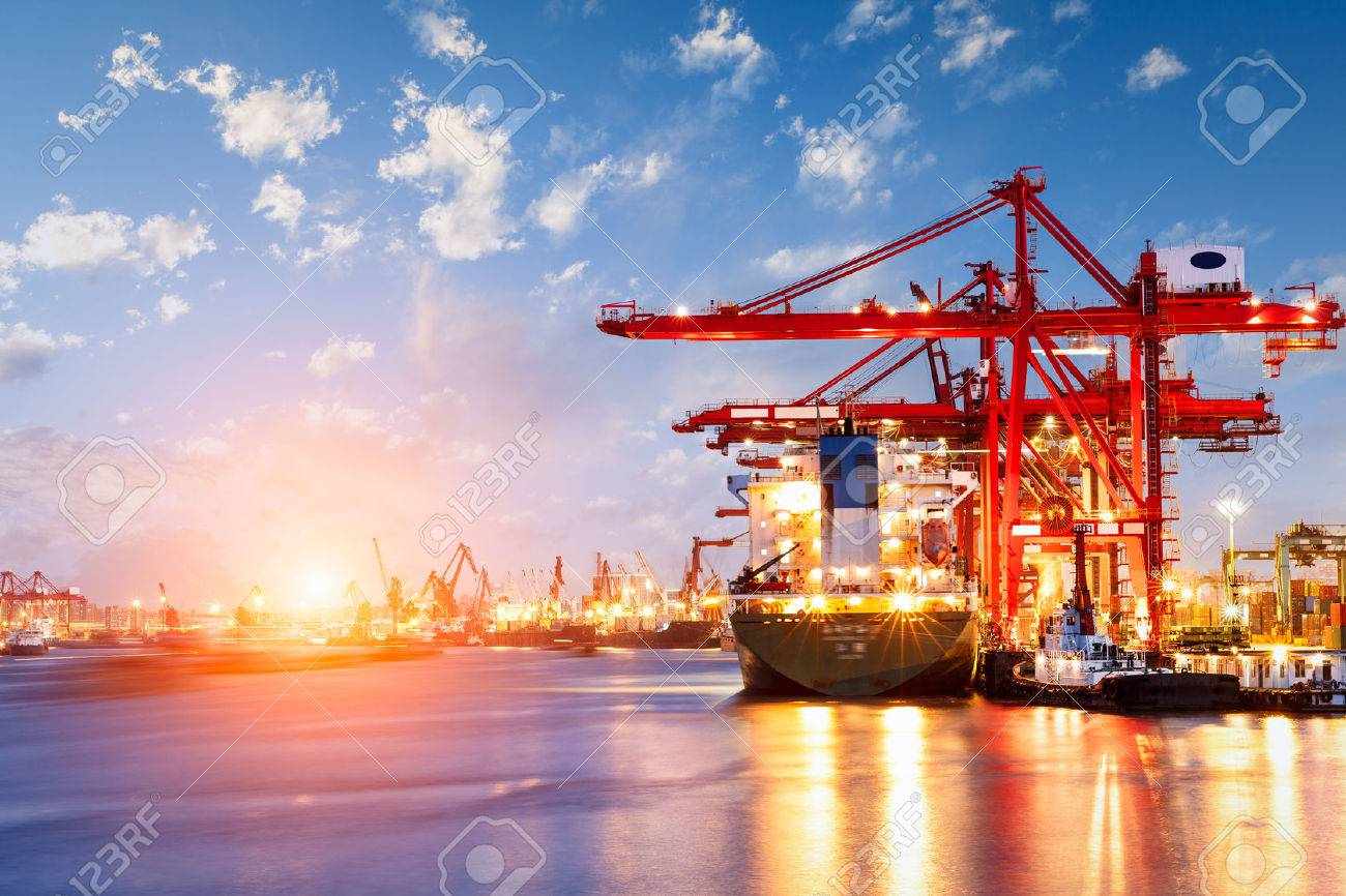 Industrial container freight Trade Port scene at sunset - 55722687