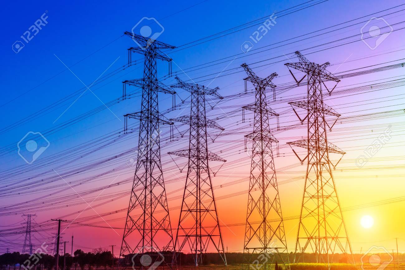high voltage post,High voltage tower sky sunset background - 81216538