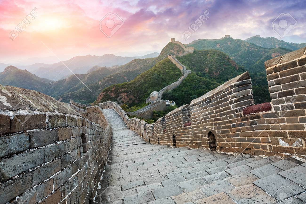 Great Wall of China at the jinshanling section,sunset landscape - 93067536