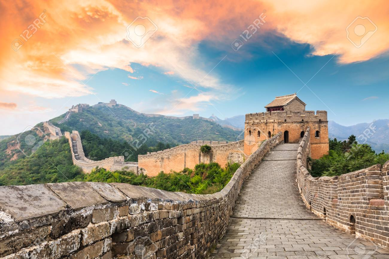 Great Wall of China at the jinshanling section,sunset landscape - 93067546