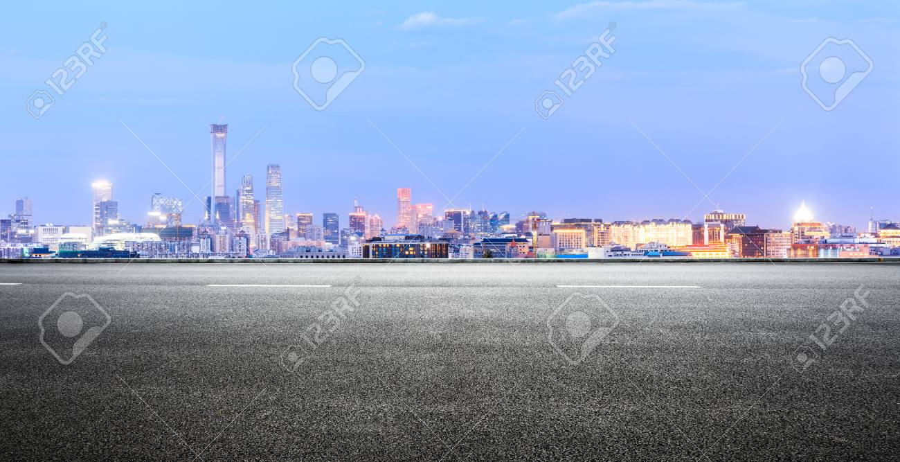 Panoramic beijing skyline and buildings with empty road - 106731482