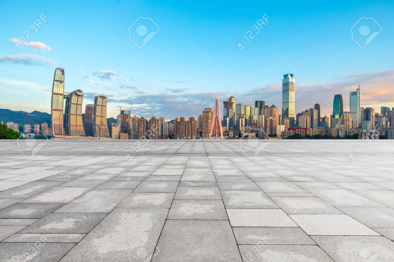 Empty square floor and cityscape with buildings in Chongqing at sunset,China. - 130644866