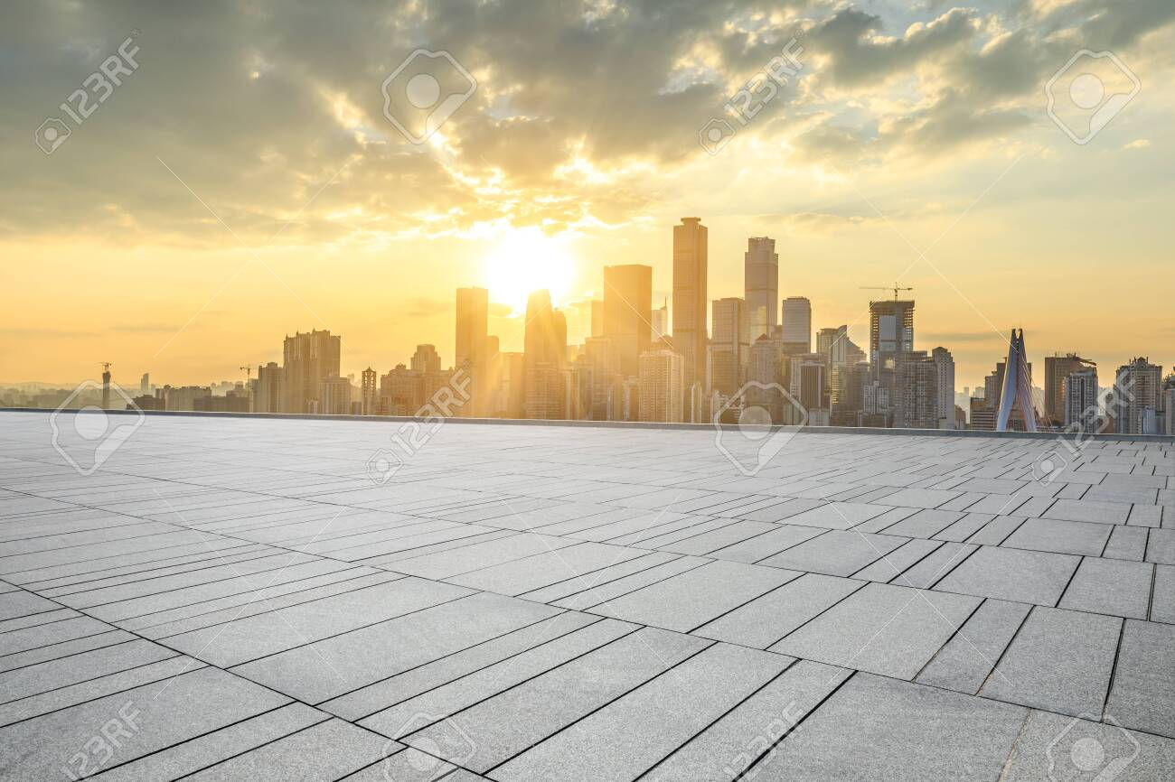 Empty square floor and modern city skyline in chongqing at sunset,China. - 131127498