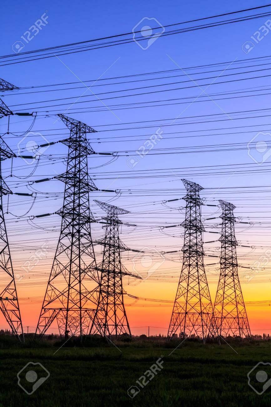 High voltage electricity tower sky sunset landscape,industrial background. - 133193709
