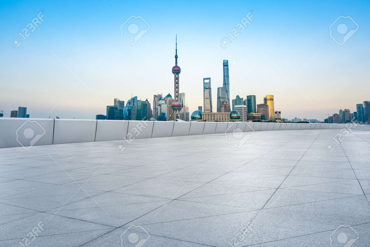 Empty floor and modern city skyline with buildings in Shanghai at sunset,China. - 151024528