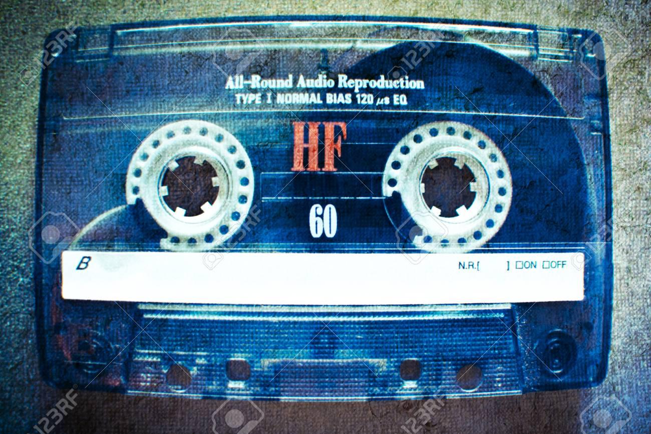 Old Vintage Cassette tape in blue tone. - 33860103