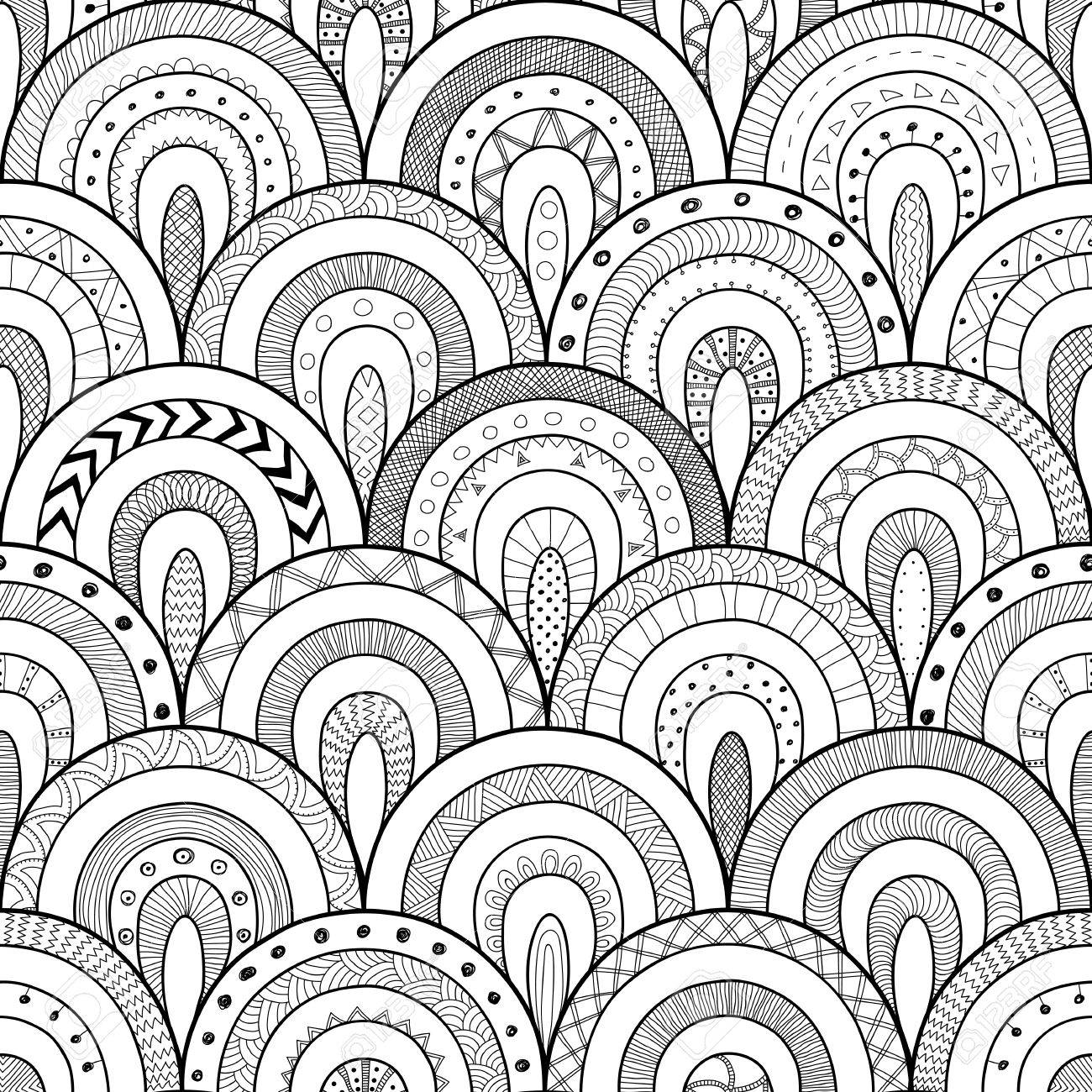 Tribal Contour Seamless Pattern, Indian Or African Ethnic Patchwork ...