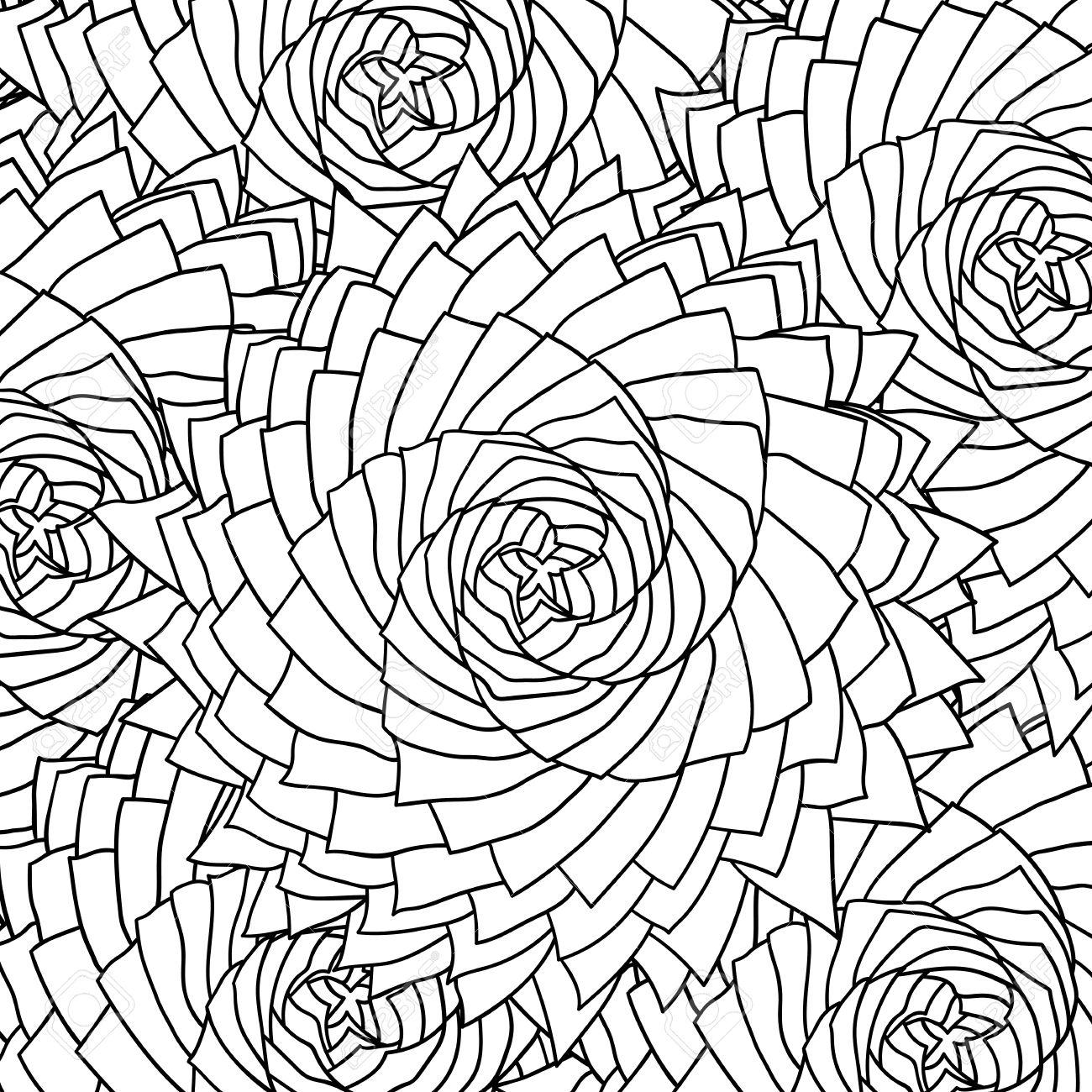 Excepcional Páginas Para Colorear En Blanco Y Negro De Rosas Motivo ...