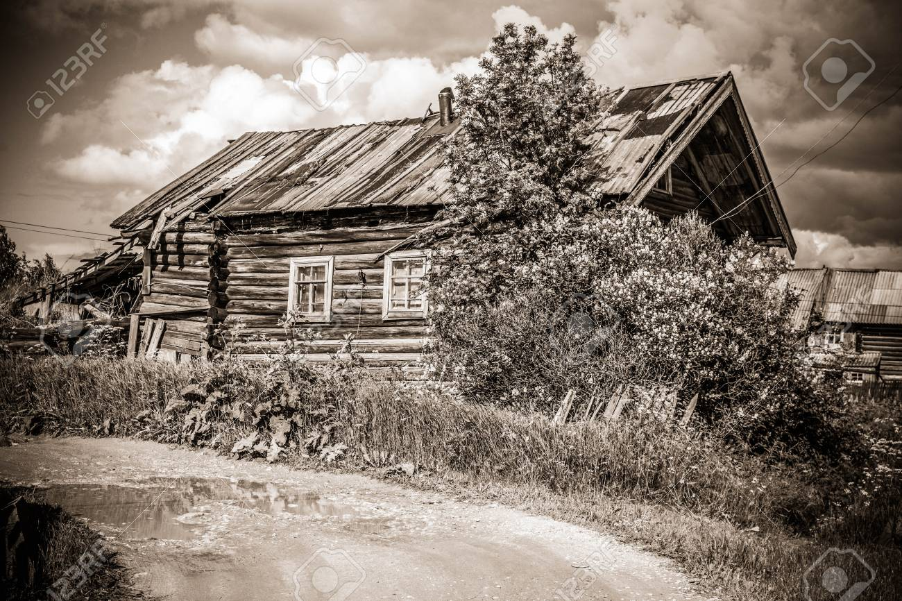 North Russian Village Isady Summer Day Emca River Old Cottages