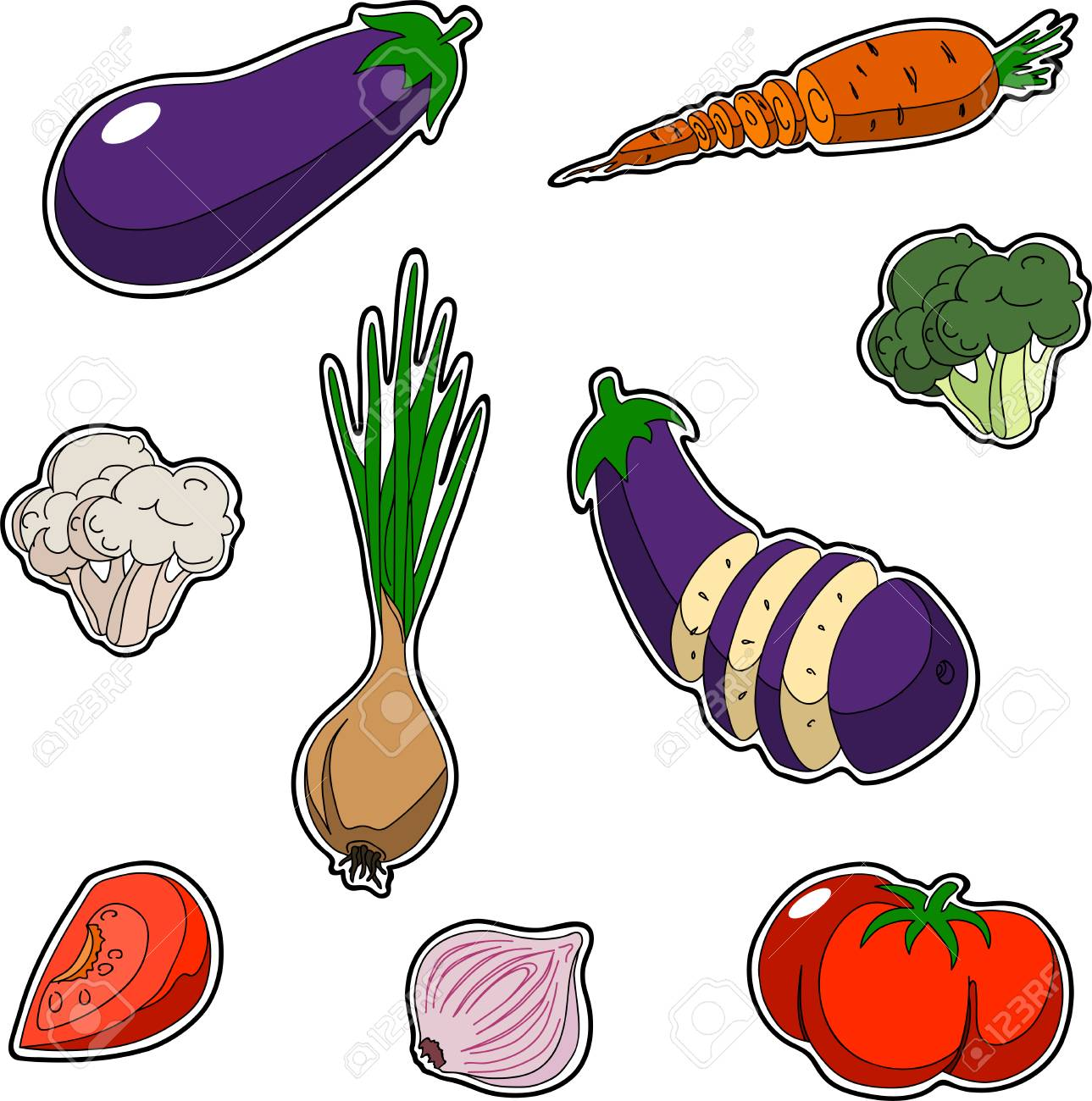 Vegetable Contains Set of vegetables sticker style set contains onion broccoli set of vegetables sticker style set contains onion broccoli tomato garlic eggplant cabbage carrot workwithnaturefo