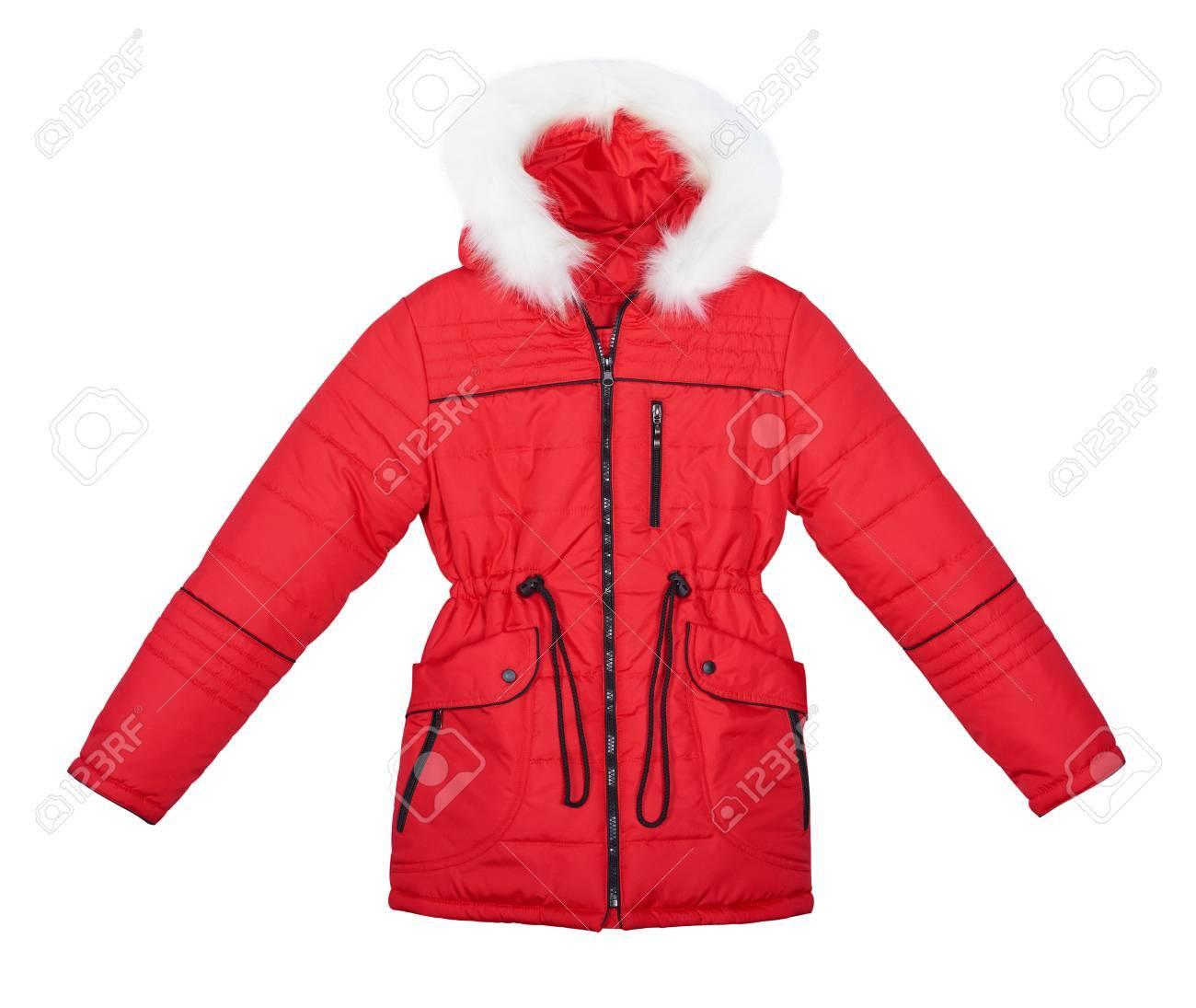 rote jacke mit weißem fell