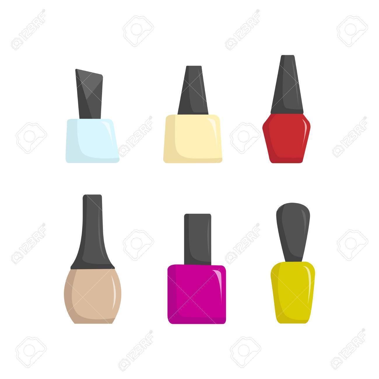 Nail Polish Colorful Jars, Vector Illustration Cartoon Style ...