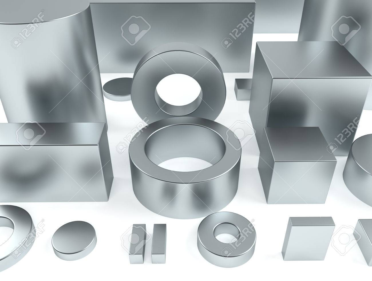Metal Shapes Of Iron And Rare Earth Magnets 3D Rendering Stock ...